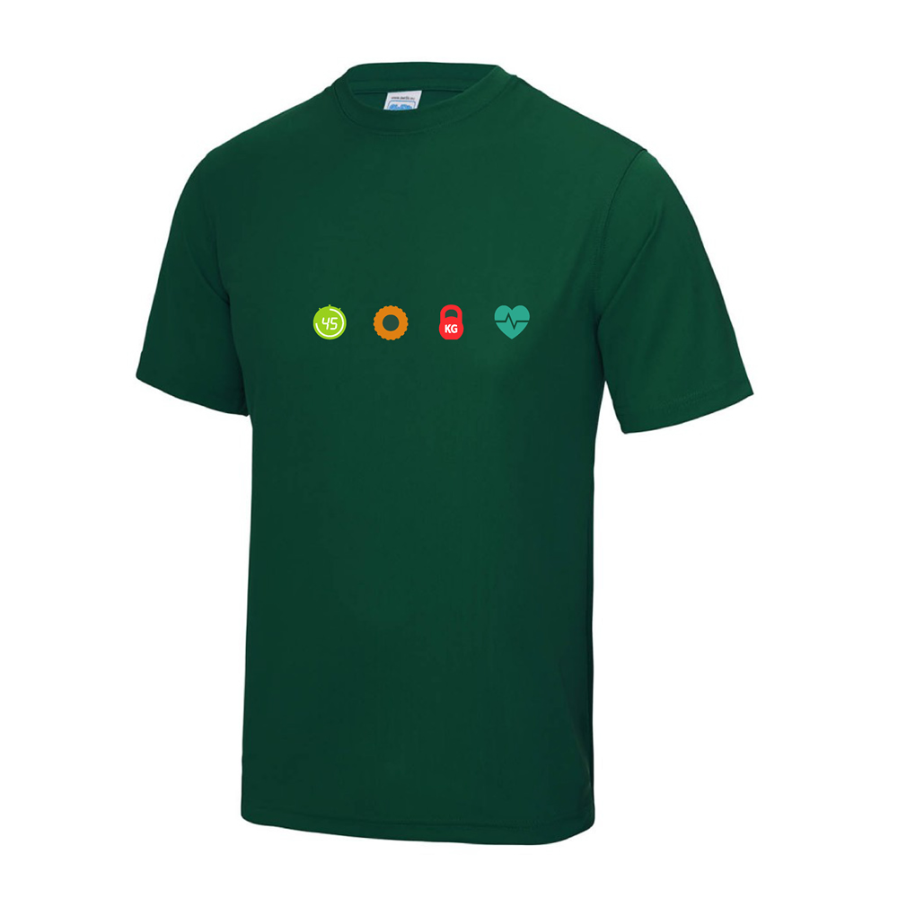 4 seasons fitness bottle green t shirt chest logo