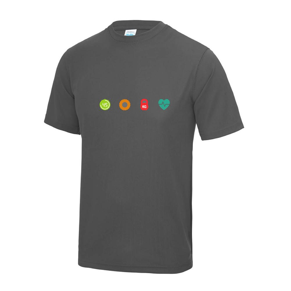 4 seasons fitness charcoal t shirt chest logo