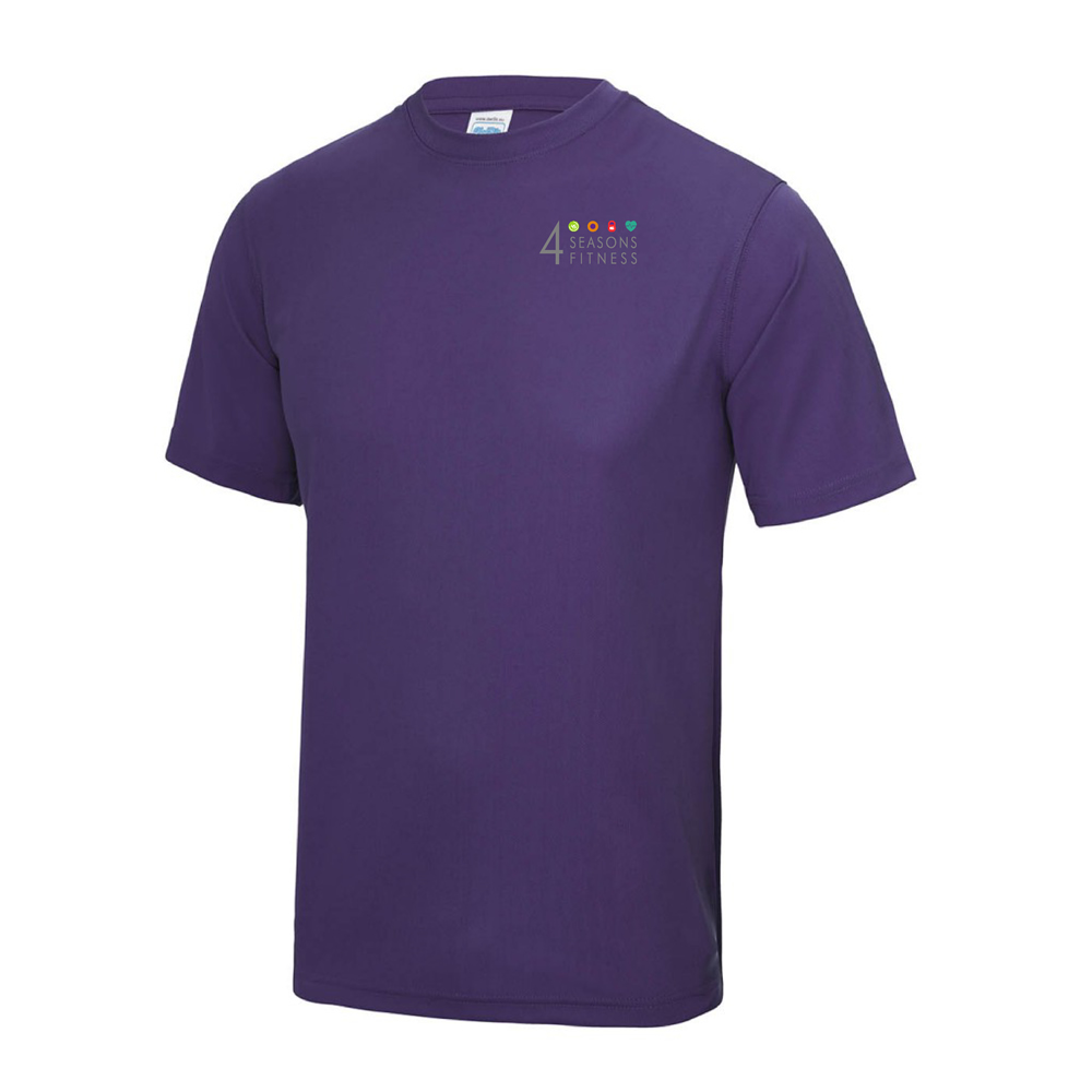 4 seasons fitness purple t shirt breast logo
