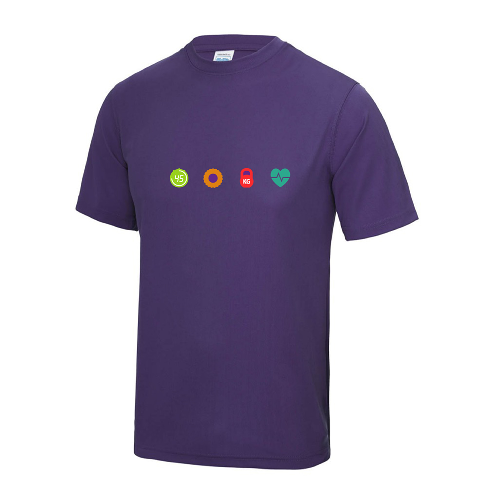 4 seasons fitness purple t shirt chest logo
