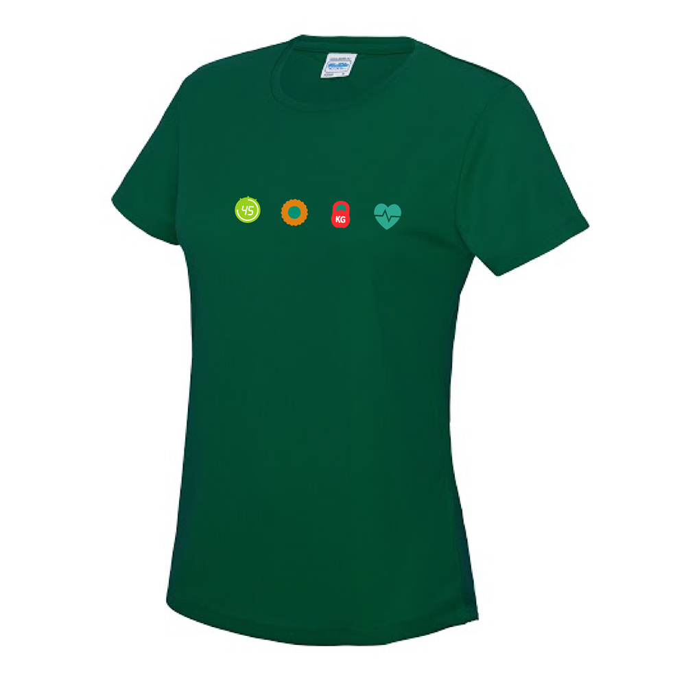 ladies cool t-shirt bottle green chest logo
