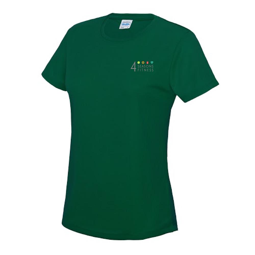 Ladies 4 seasons cool t-shirt bottle green breast logo