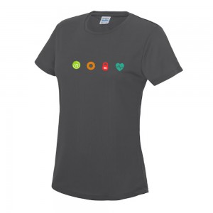 ladies cool t-shirt charcoal chest logo