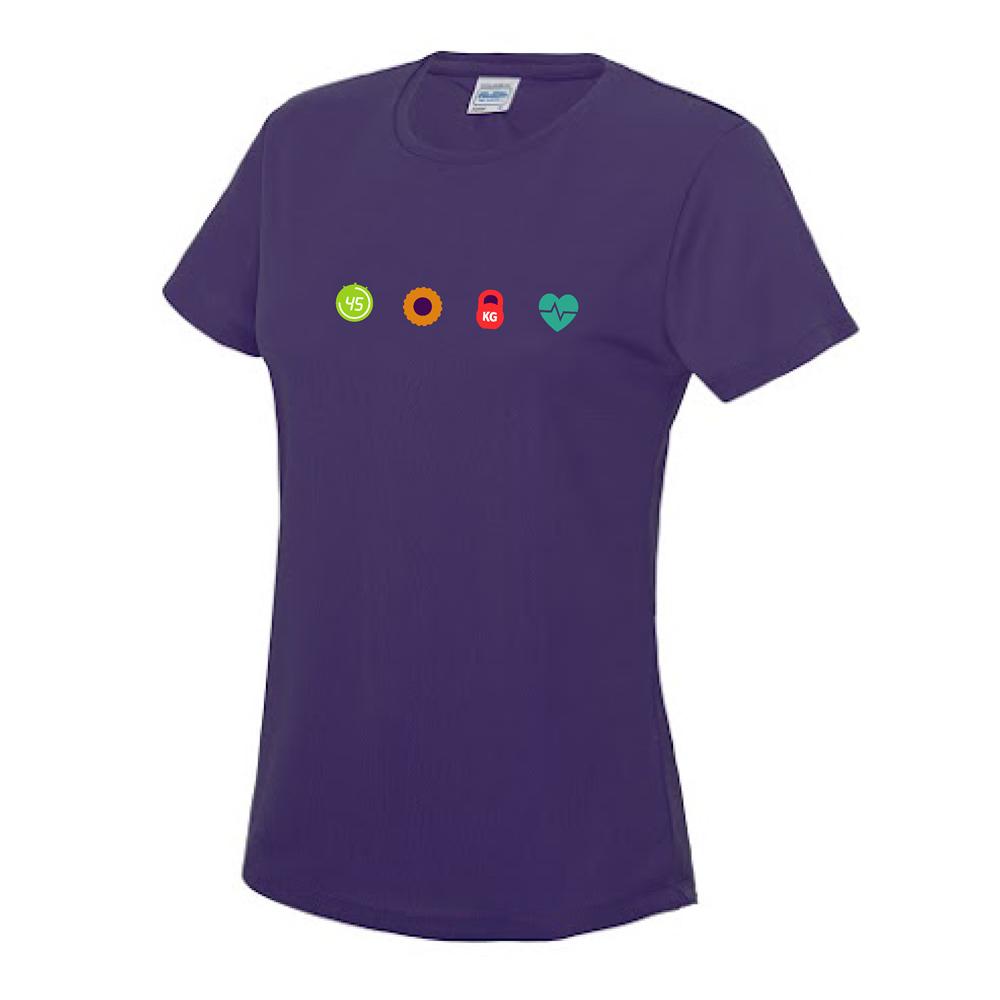 ladies cool t-shirt purple chest logo